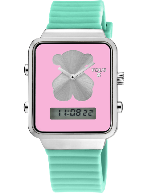 Analog watch, Watch, Turquoise, Pink, Green, Aqua, Strap, Rectangle, Font, Petal,