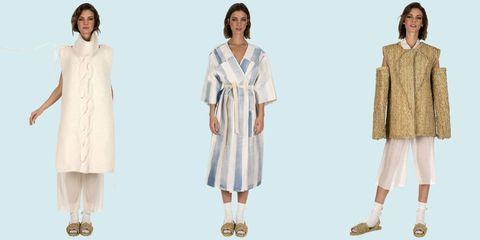 Clothing, White, Dress, Outerwear, Fashion, Robe, Sleeve, Day dress, Beige, Fashion model,