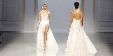 Gown, Fashion model, Clothing, Wedding dress, Dress, Fashion, Bridal clothing, Haute couture, Bridal party dress, Shoulder,