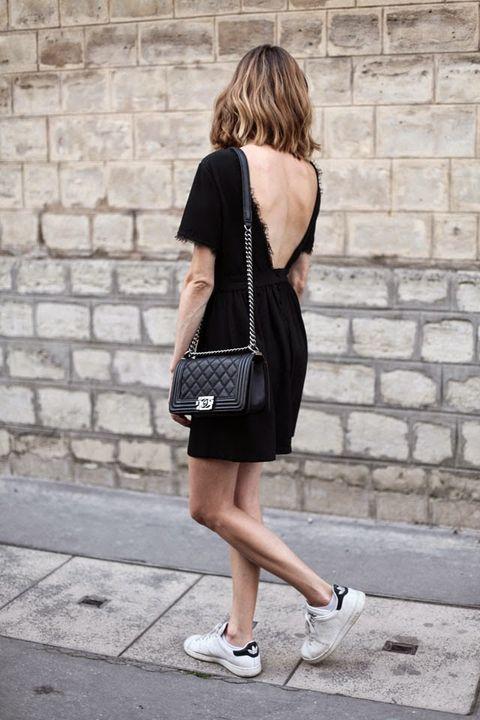 Clothing, Black, Shoulder, Street fashion, Footwear, Fashion, Snapshot, Dress, Shoe, Little black dress,