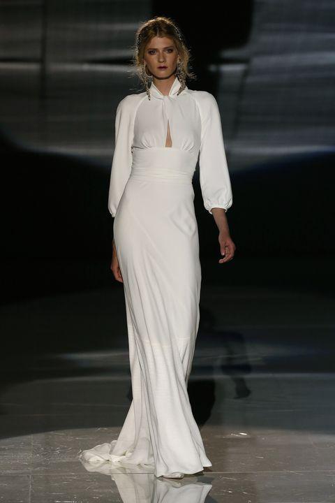 Fashion model, Clothing, White, Fashion, Dress, Fashion show, Gown, Runway, Neck, Haute couture,