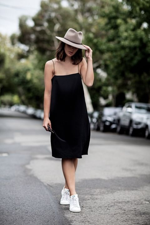 Clothing, White, Shoulder, Black, Street fashion, Dress, Little black dress, Hat, Fedora, Fashion,