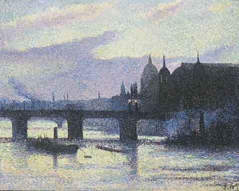 Painting, Watercolor paint, Bridge, River, Waterway, Acrylic paint, Sky, Visual arts, Bank, Art,