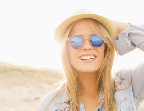 Eyewear, Sunglasses, Hair, White, Glasses, Face, Blond, Skin, Lip, Beauty,