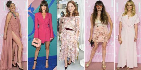 Fashion model, Clothing, Pink, Fashion, Dress, Footwear, Leg, Blazer, Outerwear, Peach,
