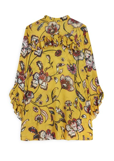 Clothing, Yellow, Sleeve, Pattern, Blouse, Outerwear, Design, Pattern, Button, Visual arts,