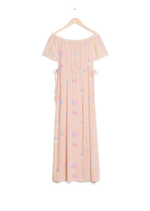 Clothing, Pink, Dress, Day dress, Peach, Sleeve, Shoulder, Pattern, Pattern, Nightwear,