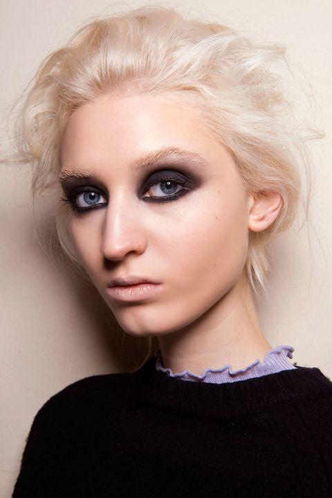 Hair, Face, Eyebrow, Hairstyle, Blond, Lip, Chin, Beauty, Head, Skin,