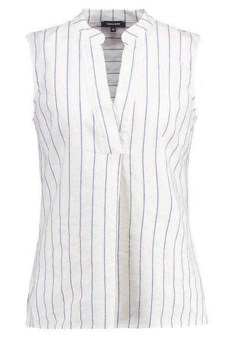 Clothing, White, Sleeveless shirt, Outerwear, Blouse, Sleeve, Shirt, Collar, Neck, Top,