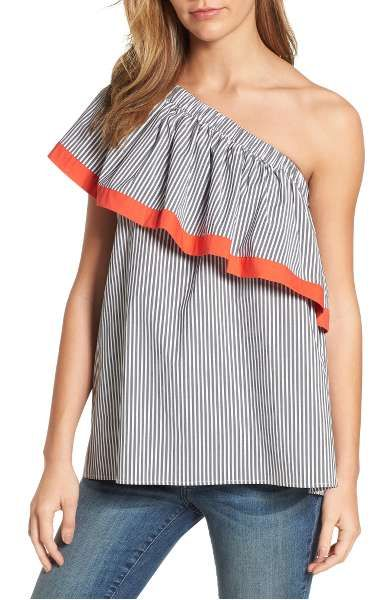 Clothing, Shoulder, Joint, Sleeve, Neck, Orange, Top, Blouse, Human body, Muscle,
