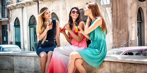 Friendship, Fashion, Fun, Pink, Summer, Eyewear, Dress, Street fashion, Photography, Leisure,