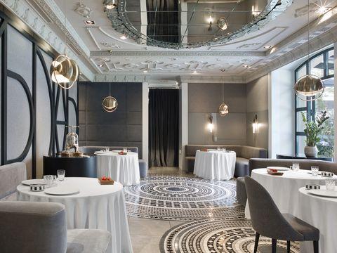 Tablecloth, Interior design, Lighting, Room, Floor, Textile, Furniture, Light fixture, Linens, Ceiling,