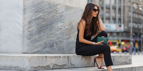 Street fashion, White, Clothing, Shoulder, Sitting, Beauty, Fashion, Footwear, Leg, Shoe,