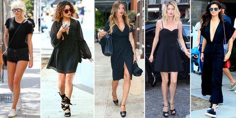 Clothing, Black, Footwear, Street fashion, Dress, Little black dress, Fashion, Shoe, Sandal, Fashion model,