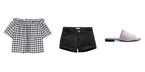Clothing, White, Black, Shorts, Product, Pattern, Tartan, Design, Plaid, Skort,