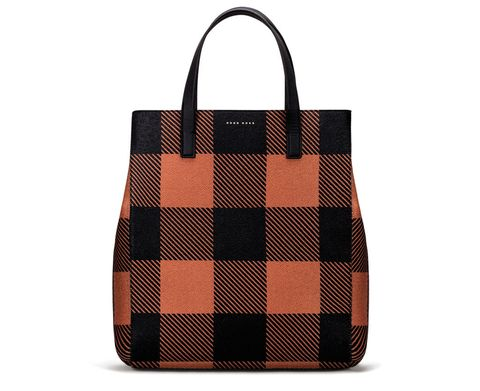 Handbag, Bag, Fashion accessory, Tote bag, Pattern, Orange, Brown, Plaid, Design, Tartan,