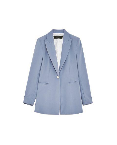 Clothing, Outerwear, Blazer, Blue, Jacket, Suit, Formal wear, Collar, Sleeve, Button,
