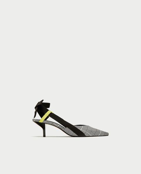 Footwear, White, Shoe, High heels, Yellow, Slingback, Leg, Sandal, Court shoe, Leather,