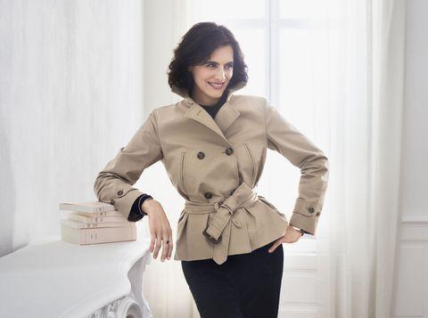 Clothing, Trench coat, Coat, White, Overcoat, Outerwear, Waist, Beige, Sleeve, Fashion,