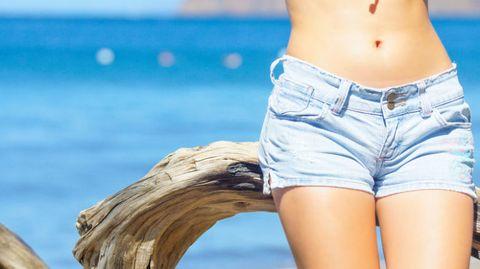 Skin, Jeans, Waist, Clothing, Abdomen, Thigh, Stomach, Denim, Shorts, Beauty,