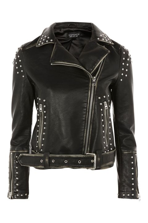 Clothing, Jacket, Leather, Leather jacket, Outerwear, Black, Sleeve, Textile, Top, Collar,