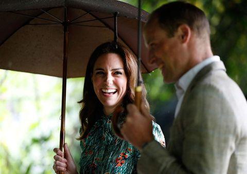 Photograph, Facial expression, Umbrella, Smile, Fashion accessory, Wedding, Happy, Ceremony, Fun, Romance,