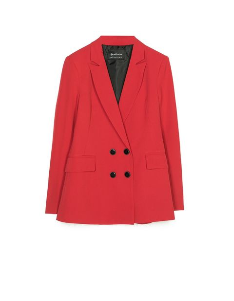 Clothing, Outerwear, Blazer, Jacket, Red, Sleeve, Suit, Button, Formal wear, Coat,