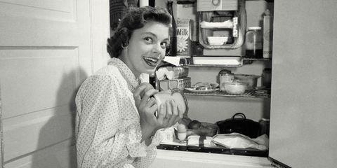 Photograph, Black-and-white, Monochrome, Snapshot, Monochrome photography, Refrigerator, Room, Kitchen, Major appliance, Photography,