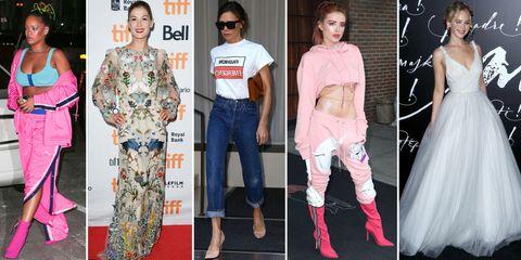 Clothing, Fashion, Pink, Fashion model, Jeans, Street fashion, Footwear, Carpet, Fashion design, Red carpet,