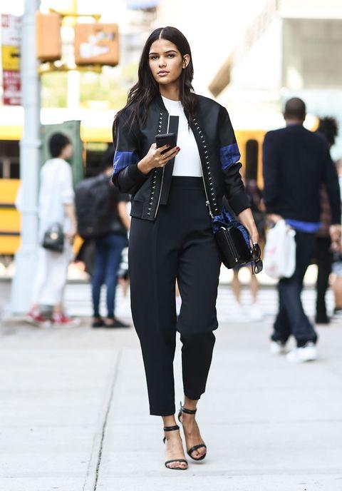 Clothing, Street fashion, White, Fashion, Blazer, Outerwear, Snapshot, Footwear, Suit, Jeans,