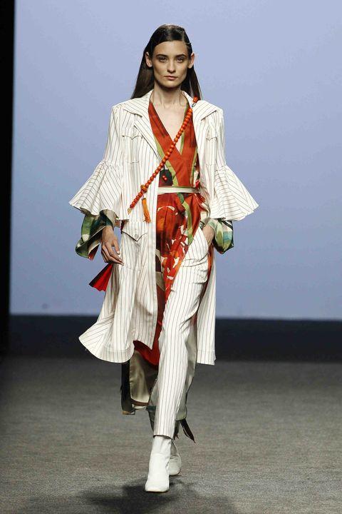 Fashion model, Fashion, Clothing, Runway, Fashion show, Fashion design, Outerwear, Costume, Street fashion, Model,