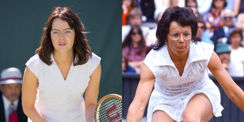 "<p>Stone portrays legendary tennis star Billie Jean King in the upcoming movie&nbsp;<em data-redactor-tag=""em"">Battle of the Sexes. </em>""Playing Billie Jean was a bit of a game changer,"" she <a href=""http://www.marieclaire.com/celebrity/a28644/emma-stone-september-2017-cover/"" data-tracking-id=""recirc-text-link"" target=""_blank"">tells</a> <em data-redactor-tag=""em"">Marie Claire</em>. She also gained <a href=""http://www.hollywoodreporter.com/news/oscars-why-emma-stone-gained-15-pounds-la-la-land-972564"" data-tracking-id=""recirc-text-link"" target=""_blank"">15 pounds of muscle</a> for the role. Fifteen. Pounds. <span class=""redactor-invisible-space"" data-verified=""redactor"" data-redactor-tag=""span"" data-redactor-class=""redactor-invisible-space""></span></p>"