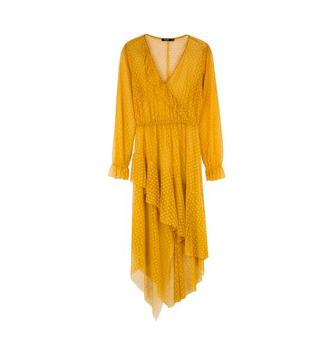 Clothing, Yellow, Day dress, Dress, Orange, Sleeve, Cover-up, Outerwear, Cocktail dress, Blouse,