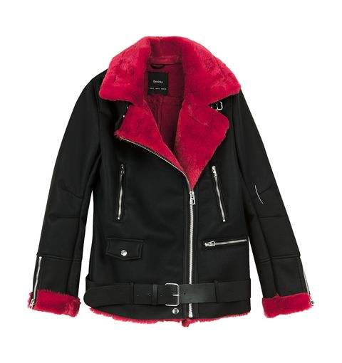 Clothing, Jacket, Outerwear, Sleeve, Red, Leather jacket, Pink, Fashion, Collar, Fur,