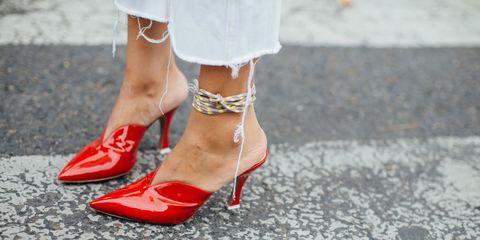Footwear, Red, Human leg, White, Street fashion, Leg, Shoe, High heels, Ankle, Foot,