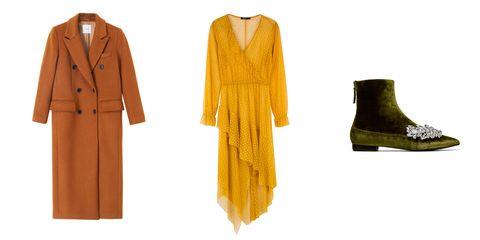 Clothing, Yellow, Outerwear, Footwear, Dress, Sleeve, Formal wear, Coat, Robe, Overcoat,