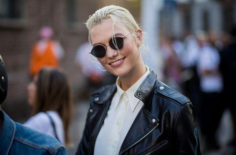 Eyewear, Sunglasses, Hair, Street fashion, Glasses, Fashion, Cool, Blond, Leather, Hairstyle,