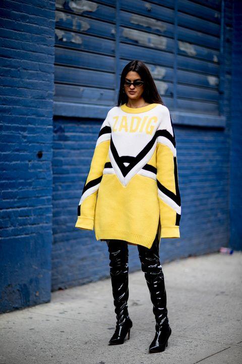 Clothing, Street fashion, Blue, Yellow, Fashion model, Fashion, Electric blue, Cobalt blue, Outerwear, Beauty,