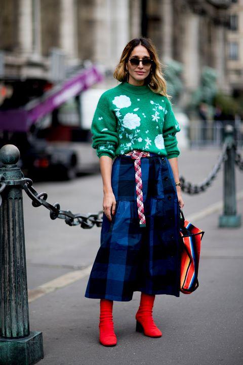 Clothing, Street fashion, Fashion, Plaid, Tartan, Pattern, Turquoise, Dress, Design, Electric blue,