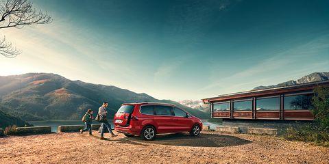 Sky, Vehicle, Car, Red, Cloud, Transport, Automotive exterior, Mode of transport, Grass, Wheel,