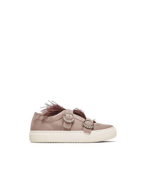 Footwear, Shoe, Sneakers, Beige, Brown, Leather, Plimsoll shoe,