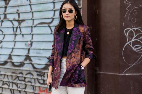 Clothing, Street fashion, Fashion, Purple, Outerwear, Jacket, Leather, Eyewear, Pink, Jeans,