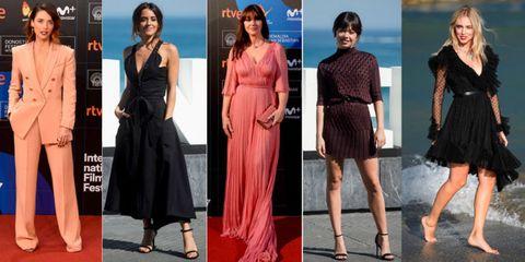 Fashion model, Clothing, Dress, Fashion, Formal wear, Footwear, Cocktail dress, Leg, Little black dress, Carpet,