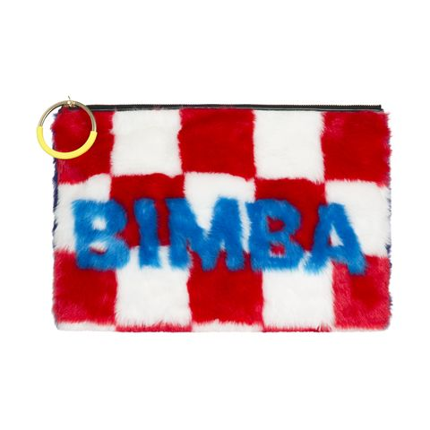Red, Fur, Coin purse, Wristlet, Flag, Textile, Rectangle, Wallet, Fashion accessory,