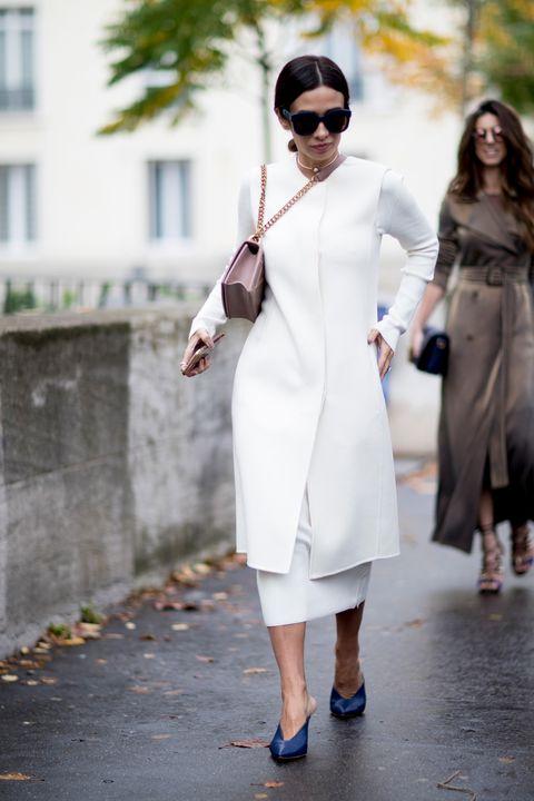 White, Clothing, Street fashion, Photograph, Fashion, Trench coat, Shoulder, Dress, Snapshot, Coat,