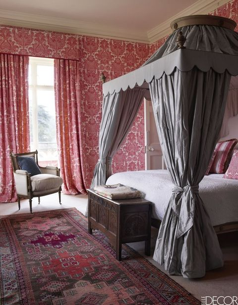 Curtain, Furniture, Room, Interior design, Window treatment, Bed, Pink, Property, Bedroom, Canopy bed,