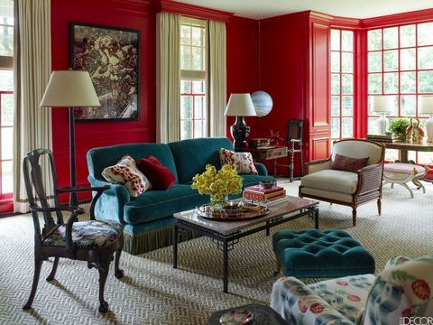 Living room, Room, Furniture, Interior design, Red, Property, Coffee table, Curtain, Couch, Home,