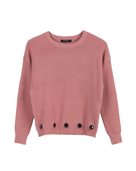 Clothing, Pink, Sleeve, Sweater, Outerwear, Jersey, Top, T-shirt, Crop top, Neck,