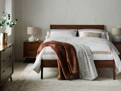 Bedroom, Furniture, Bed, Bed sheet, Bedding, Room, Bed frame, Nightstand, Duvet cover, Duvet,