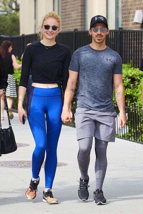 Clothing, Tights, Cobalt blue, Street fashion, Fashion, Eyewear, Electric blue, Sportswear, Sunglasses, Leggings,